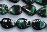 CTE1055 15.5 inches 13*18mm flat teardrop dyed green tiger eye beads