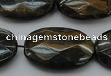 CTE1375 15.5 inches 25*35mm faceted oval yellow & blue tiger eye beads