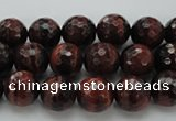 CTE1460 15.5 inches 4mm faceted round red tiger eye beads