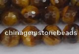 CTE1829 15.5 inches 10mm faceted round yellow tiger eye beads