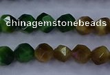 CTE1926 15.5 inches 6mm faceted nuggets colorful tiger eye beads