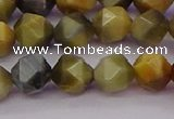 CTE1976 15.5 inches 8mm faceted nuggets golden & blue tiger eye beads
