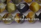 CTE1977 15.5 inches 10mm faceted nuggets golden & blue tiger eye beads