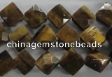 CTE315 15.5 inches 10*10mm faceted diamond yellow tiger eye beads
