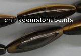 CTE332 15.5 inches 11*40mm trihedron yellow tiger eye gemstone beads