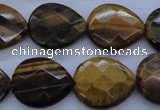 CTE435 15.5 inches 17*20mm faceted flat teardrop yellow tiger eye beads