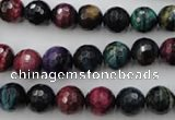 CTE581 15.5 inches 6mm faceted round colorful tiger eye beads