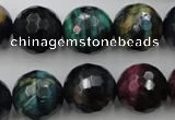 CTE586 15.5 inches 16mm faceted round colorful tiger eye beads