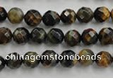 CTE721 15.5 inches 6mm faceted round yellow & blue tiger eye beads