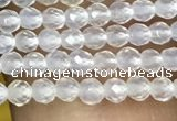 CTG1000 15.5 inches 2mm faceted round tiny white agate beads