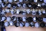 CTG1072 15.5 inches 2mm faceted round tiny snowflake obsidian beads