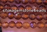 CTG1139 15.5 inches 3mm faceted round tiny orange garnet beads