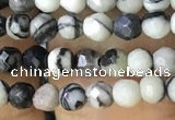 CTG1161 15.5 inches 3mm faceted round tiny black water jasper beads