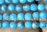 CTG1171 15.5 inches 3mm faceted round tiny turquoise beads