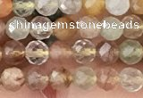 CTG1356 15.5 inches 4mm faceted round mixed quartz beads