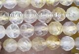 CTG1489 15.5 inches 3mm faceted round golden rutilated quartz beads