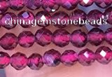 CTG1652 15.5 inches 3mm faceted round tiny red garnet beads