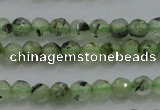CTG224 15.5 inches 3mm faceted round tiny green rutilated quartz beads