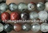 CTG3560 15.5 inches 4mm faceted round blood jasper beads