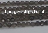 CTG639 15.5 inches 2mm faceted round smoky black obsidian beads