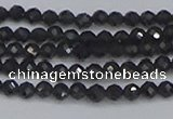 CTG642 15.5 inches 3mm faceted round golden black obsidian beads