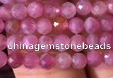 CTG707 15.5 inches 4mm faceted round tiny pink tourmaline beads