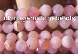 CTG734 15.5 inches 4mm faceted round tiny pink opal beads