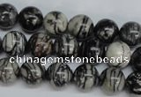 CTJ27 15.5 inches 12mm round black water jasper beads wholesale