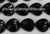 CTO129 15.5 inches 16mm twisted coin black tourmaline beads