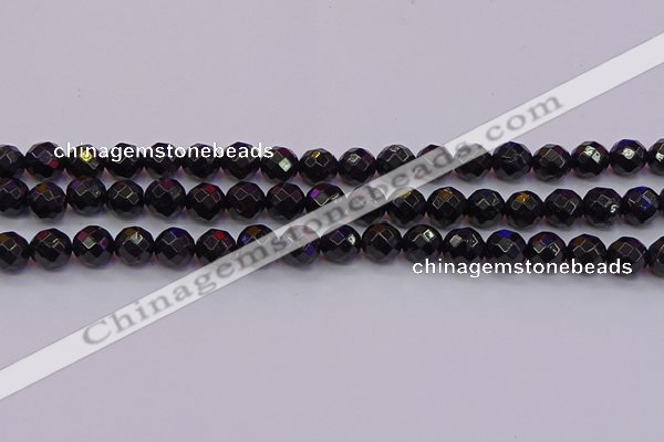 CTO137 15.5 inches 8mm faceted round black tourmaline beads