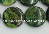 CTP09 15.5 inches 25mm flat round yellow green pine gemstone beads