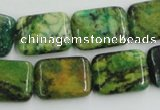 CTP10 15.5 inches 15*20mm rectangle yellow green pine gemstone beads