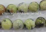 CTP105 15.5 inches 14mm round yellow pine turquoise beads wholesale