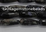 CTR78 15.5 inches 6*16mm faceted teardrop grey opal gemstone beads