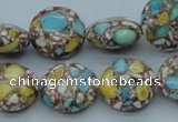 CTU108 16 inches 16mm flat round dyed flower turquoise beads wholesale