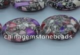 CTU114 16 inches 18*25mm oval dyed flower turquoise beads wholesale