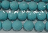 CTU1222 15.5 inches 8mm faceted round synthetic turquoise beads