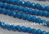 CTU1630 15.5 inches 4mm faceted round synthetic turquoise beads