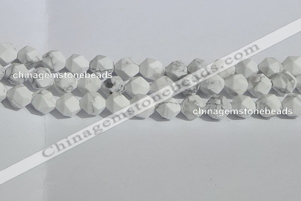 CWB247 15.5 inches 12mm faceted nuggets matte white howlite beads