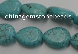 CWB724 15.5 inches 13*18mm flat teardrop howlite turquoise beads