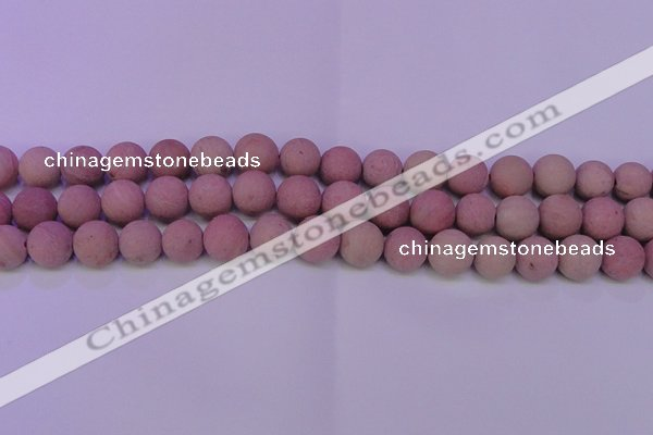 CWF20 15.5 inches 4mm round matte pink wooden fossil jasper beads