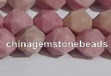 CWF33 12mm faceted nuggets matte pink wooden fossil jasper beads