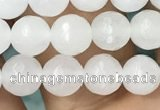 CWH77 15.5 inches 6mm faceted round white jade beads wholesale