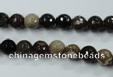 CWJ211 15.5 inches 6mm faceted round wood jasper gemstone beads