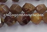 CWJ492 15.5 inches 10mm faceted nuggets wood jasper beads