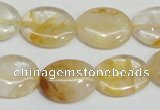 CYC02 15.5 inches 15*20mm oval yellow crystal quartz beads