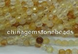 CYC110 15.5 inches 4mm faceted round yellow crystal quartz beads