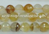CYC114 15.5 inches 10mm faceted round yellow crystal quartz beads