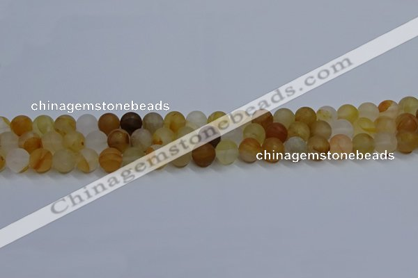 CYC141 15.5 inches 6mm round matte yellow quartz beads wholesale
