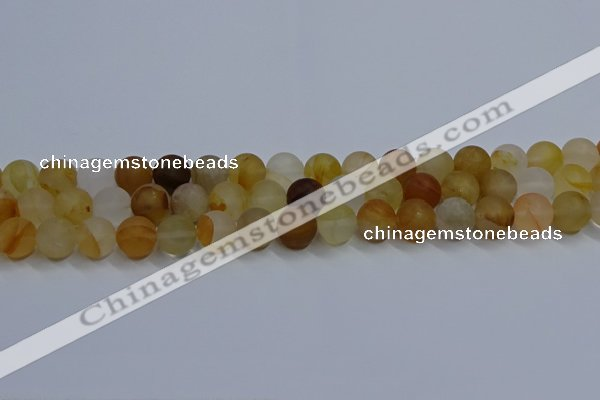 CYC142 15.5 inches 8mm round matte yellow quartz beads wholesale